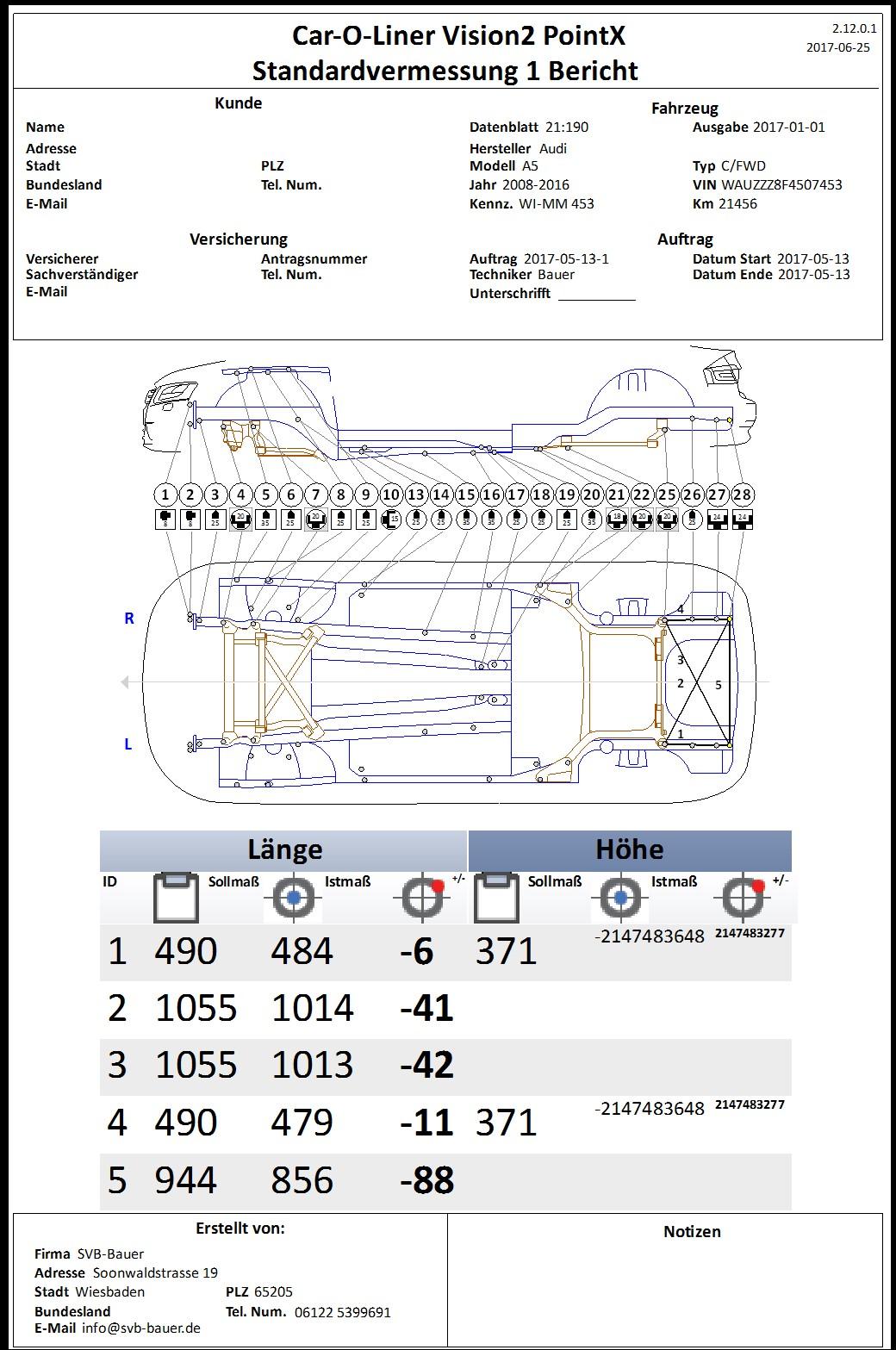Protokoll Rahmenvermessung, Karosserie vermessen mit dem Car-O-Liner PointX, SVB-Bauer, unabhängiger Kfz-Sachverständiger / Gutachter in Wiesbaden & Umgebung